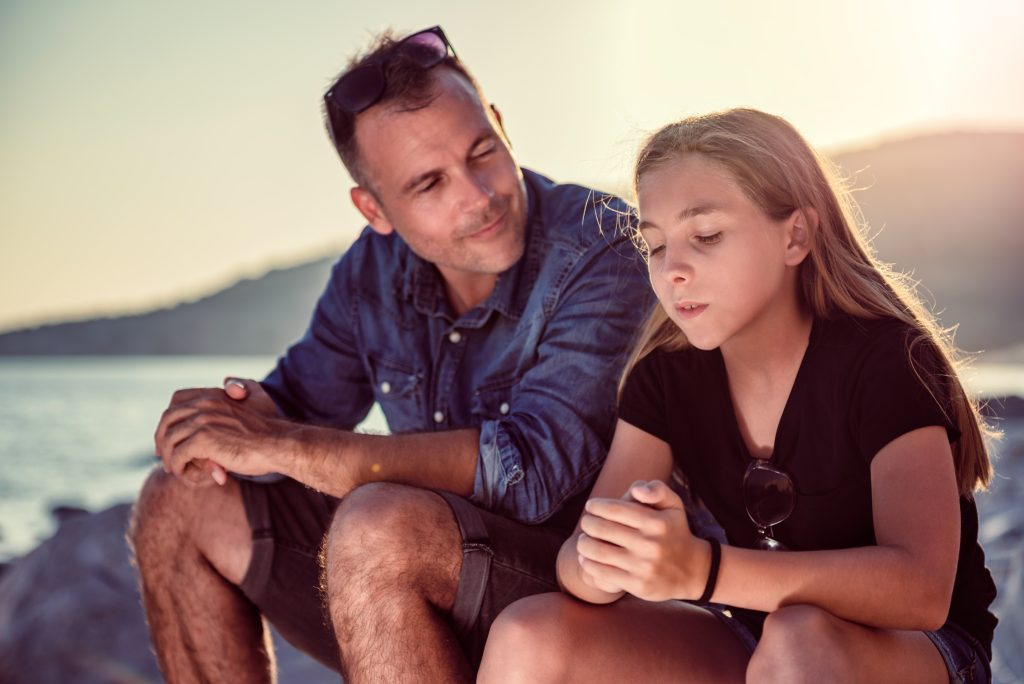 Dad discussing self harm to daughter
